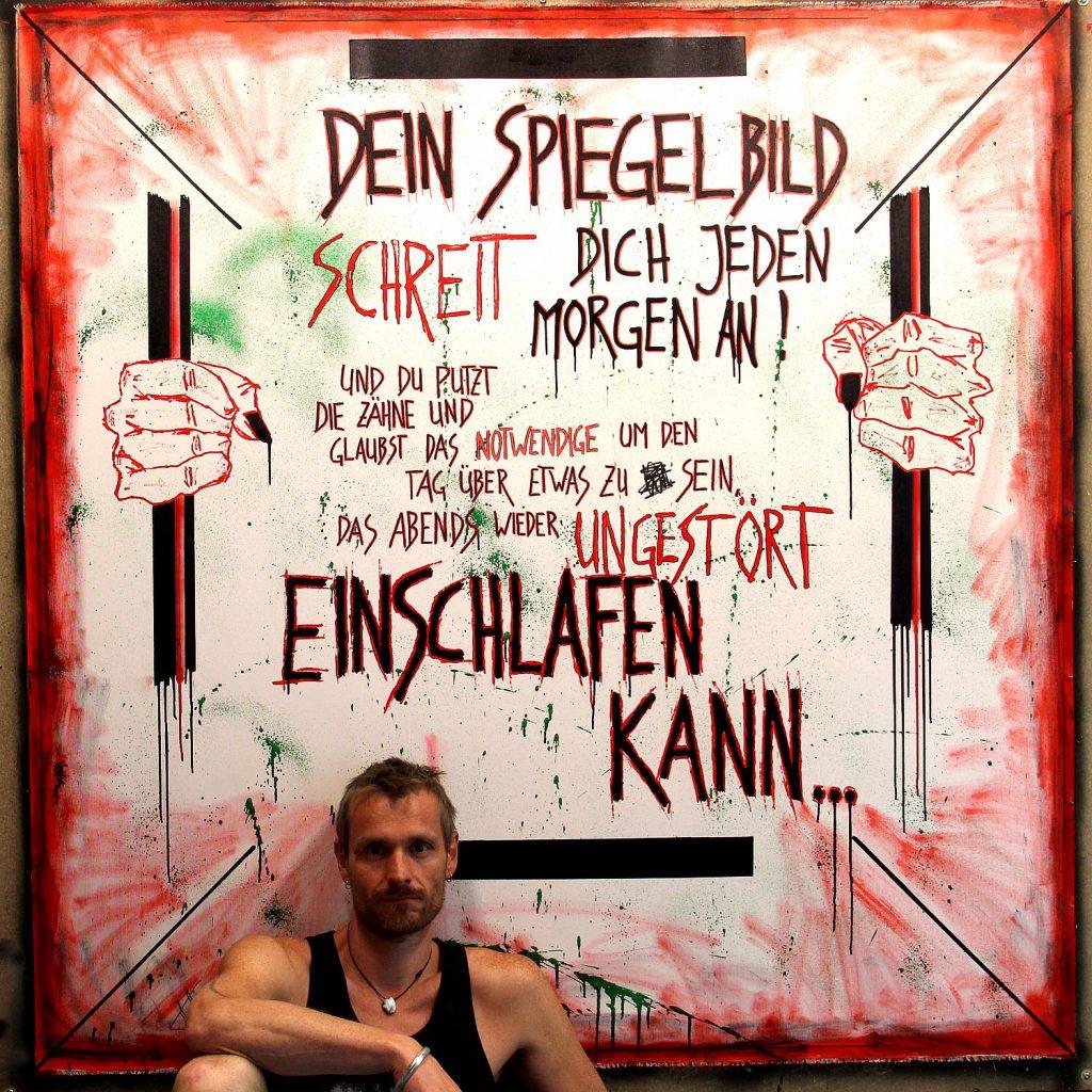 """""""Freiheit ist unbequem"""" - Leinwand 160x160cm - Text ©Frank Hummel"""