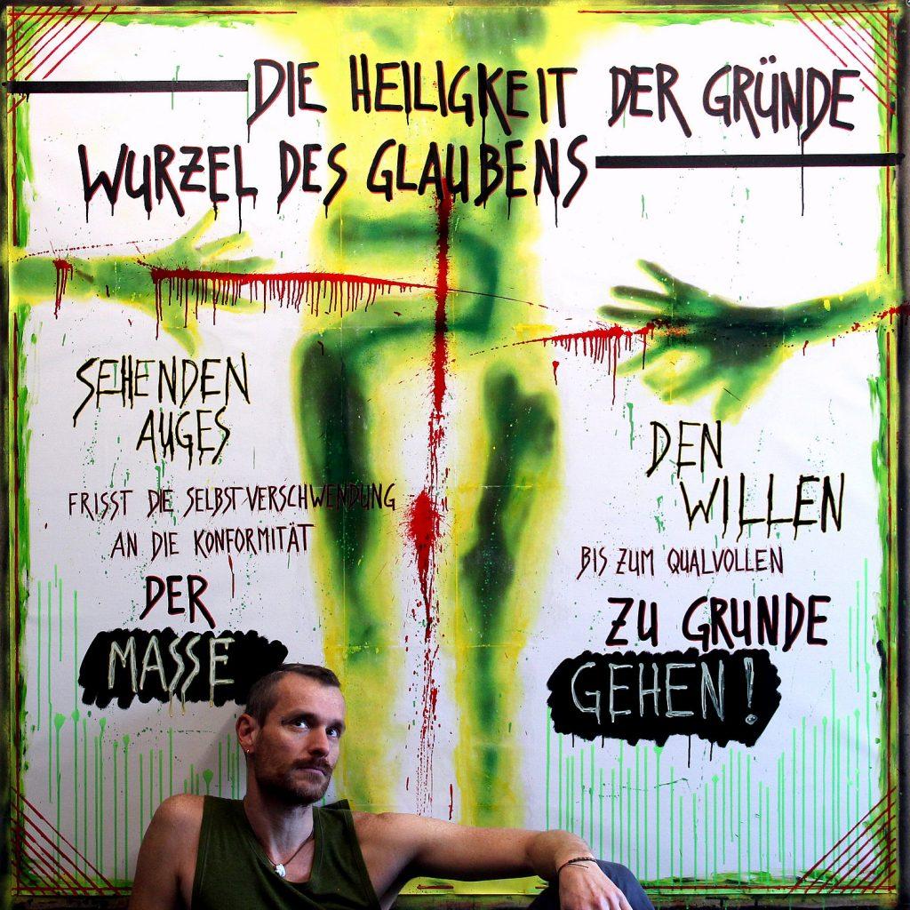 Aphorismus 8/52 oder Nietzsche vs. Schopenhauer - Text ©Frank Hummel - Leinwand 160x160cm